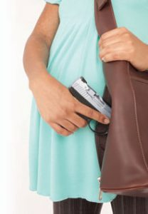 This Galco Del handbag allows the expectant mother the comfort of carrying off-body with a carry system designed to protect the firearm while allowing quick access.