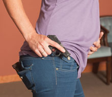 Small and compact, the Kel-Tec P3AT can be concealed well in a Sideguard pocket holster.