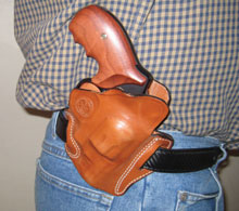 Concealed guns: S&W Model 327 holstered in DeSantis Speed Scabbard. Once broken in, the Speed Scabbard proved an asset in carrying the Model 327.