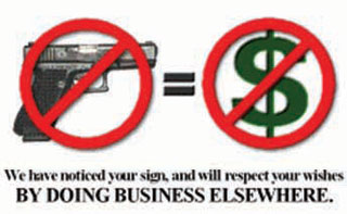 """Carry License: The """"No Guns, No Money"""" card politely informs the business that his sign drives away business."""
