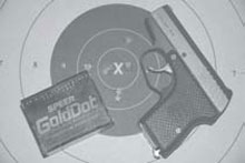 Concealed Firearm: Speer Gold Dot 124g JHPs produced this group shooting free hand at 21 feet
