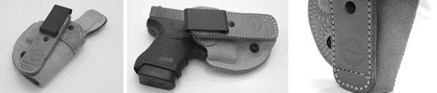 High Noon Holsters: (Left) High Noon Holster - Closing Argument. Note the slide serration imprint on the upper tab.  (Center) Closing Argument with Glock 36. (Right) Look at that beautiful stitching.