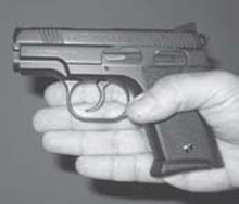 Two fingers on this sub-compact grip on a concealed carry firearm.