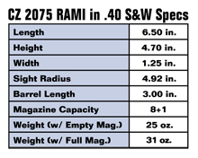 CZ 2075 RAMI Concealed Carry Gun in .40 S&W Specs