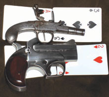 CCW Info: In the late 1990's, the Downsizer Corporation sold a deringer that was slightly smaller than a playing card. More than two centuries earlier pocket pistols (top in photo above) were only slightly larger. Shown with a Bond Arms deringer for comparison. Photograph by the author.