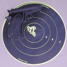 Concealed carry gun: At 10 yards the accuracy is exceptional. The group looks keyholed because the target was sitting at 45 degrees due to wind. Still, this would ruin a goblin's day.