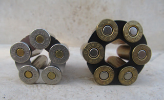 A five round moon clip in .38 Special and a six round moon clip in .45 ACP.