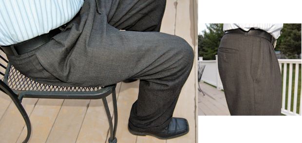 Left: Both pocket holsters were virtually undetectable as long as I was standing... Right: ...but both printed when sitting.