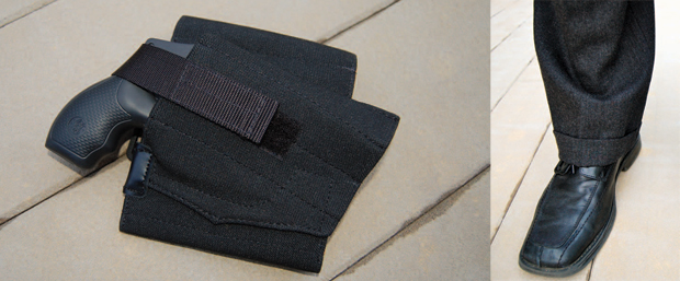 Left: The DeSantis Apache ankle holster held my S&W 340 PD very securely. Right: The DeSantis Apache holster easily and comfortably disappeared under a pair of dress pants.
