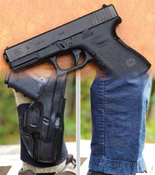 The Glock 19 is very popular with people who carry concealed. While it works in the holster, you can clear see here the gun is just too big for good ankle carry. The outline prints aggressively. The holster worked very well. The pistol was just too big.