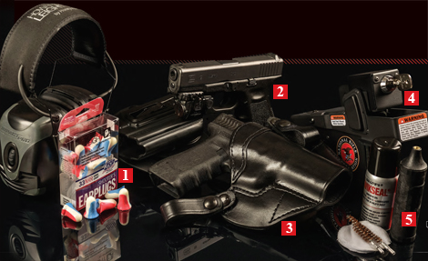 Gear We Love — from Howard Leight Electronic Muffs and MAX Plugs to Jotto Gear Locking Holster to Du-Lite Pistol Cleaning Kit.