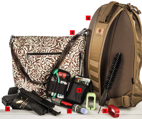 Gear We Love — from the Moonstruck Turquoise Rose Purse to the Rescue Essentials Plan Clothes Carry Kit to the TacPro Gear Covert Go-Bag.