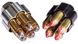 Speedloaders like these from 5 Star Firearms make revolver reloads faster and easier.