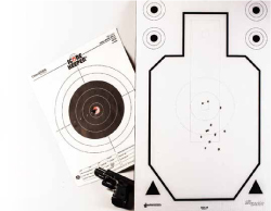 There are several big differences between bullseye shooting (left) and fast, on-the-move combat shooting (right.)