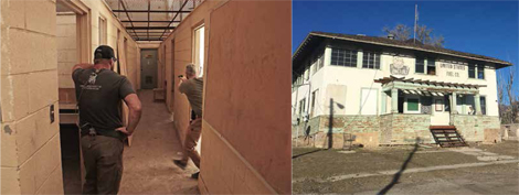 The PPQ SC proved itself in the daylight and in the darkness, both in an abandoned mine office complex (left) and in an abandoned residence (right, shown in daylight).
