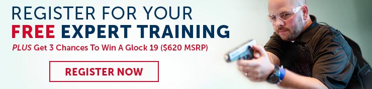 Registration link for free expert handgun training and a chance to win a Glock 19 featuring a bald white man in black fatigues and shooting glasses holding a pistol at the ready