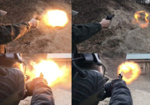 Time-lapse photos of the muzzle blast from a snub-nosed revolver being fired at an outdoor range