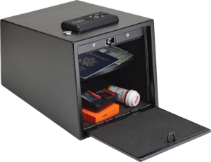 Valuables such as an external hard drive disk, U.S. passport, American currency and a prescription drug bottle are shown in the storage compartment of a black steel SnapSafe 2-Gun Keypad firearm storage safe