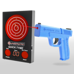 LaserLyte Target Quick Tyme accuracy and dry-fire laser training pistol and bullseye