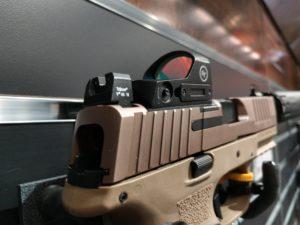 Crimson Trace CTS-1200 Compact Open Reflex Sight mounted on a FDE semi-automatic pistol