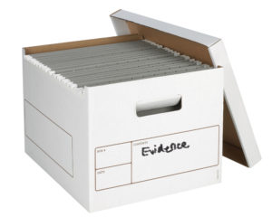 "White cardboard ""banker's box"" with the word EVIDENCE written on it in black marker. The sturdy white lid rests against the side and several hanging folders fill the box."