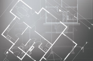 Gray blueprints floorplans overlapping themselves in transparent layers