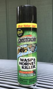 20 oz. can of Spectracide brand Wasp and Hornet Killer pesticide spray in a green can with a yellow band and black cap. The label features a large wasp graphic.
