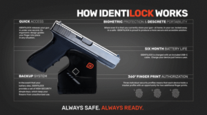 A slick IdentiLock Smart Tech lock sales sheet showing the device locked to he trigger guard of a silver and black pistol with call-out feature captions.