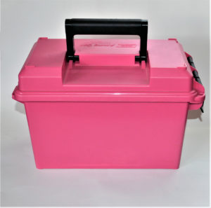A hot pink MTM Case-Gard ammunition box with a black handle