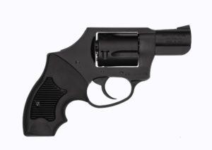 A black Charter Arms 5-shot snub-nosed .38 Special revolver
