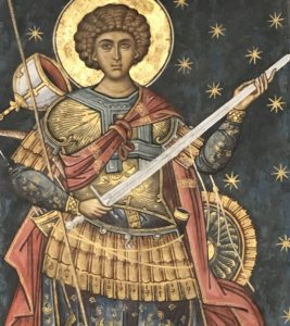 A 14th century painting of an angel holding a long sword.