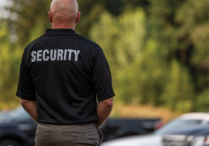 A man with short white hair stands guard over a parking lot with his back to the camera. He is wearing khaki pants and a black short-sleeved shirt with SECURITY emblazoned across the shoulders.