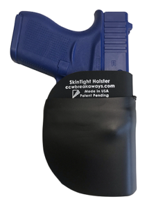 A blue training pistol contained in a SkinTight-brand hybrid pocket holster from CCW Breakaway