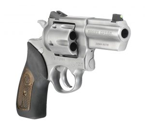 A Ruger GP100 10mm revolver standing against a white background.