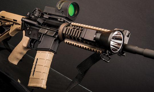 Closeup of AR-15 with mounted light
