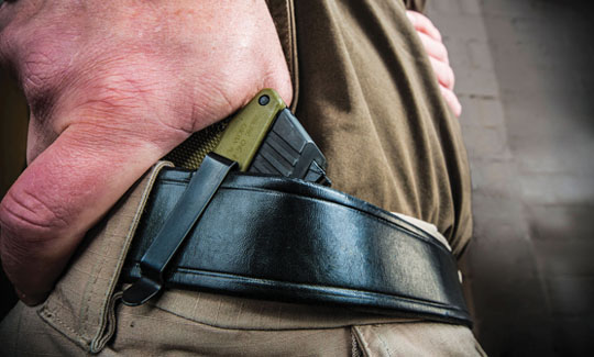 closeup image of strong side carry