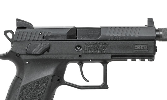 pistol with suppressor-height sights