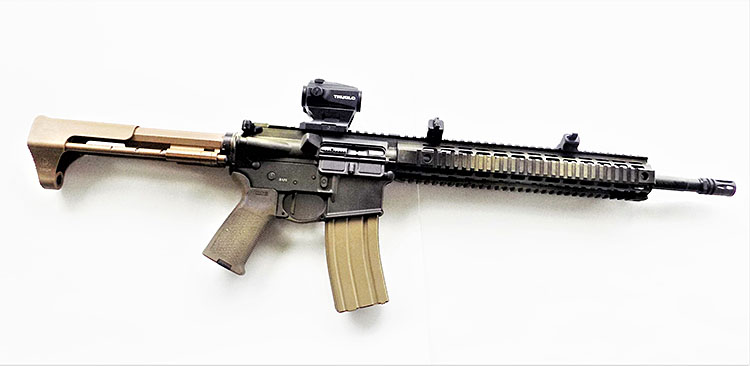 An AR-15 rifle which features optics including a red dot sight as well as iron ring sights